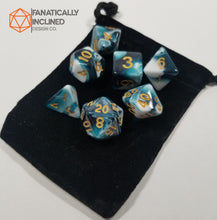 Load image into Gallery viewer, Blue Berries and Cream w/Gold 7pc Dice Set