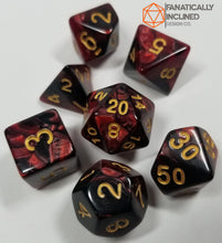 Laden Sie das Bild in den Galerie-Viewer, Red and Black w/Gold 7pc Dice Set