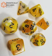 Carica l'immagine nel visualizzatore di Gallery, Yellow Lemon and Cream w/Gold 7pc Dice Set