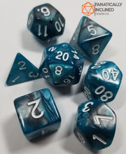 Charger l'image dans la galerie, Teal and Grey Pearl 7pc Dice Set