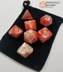 Red and White w/Gold Pearl Dice Set