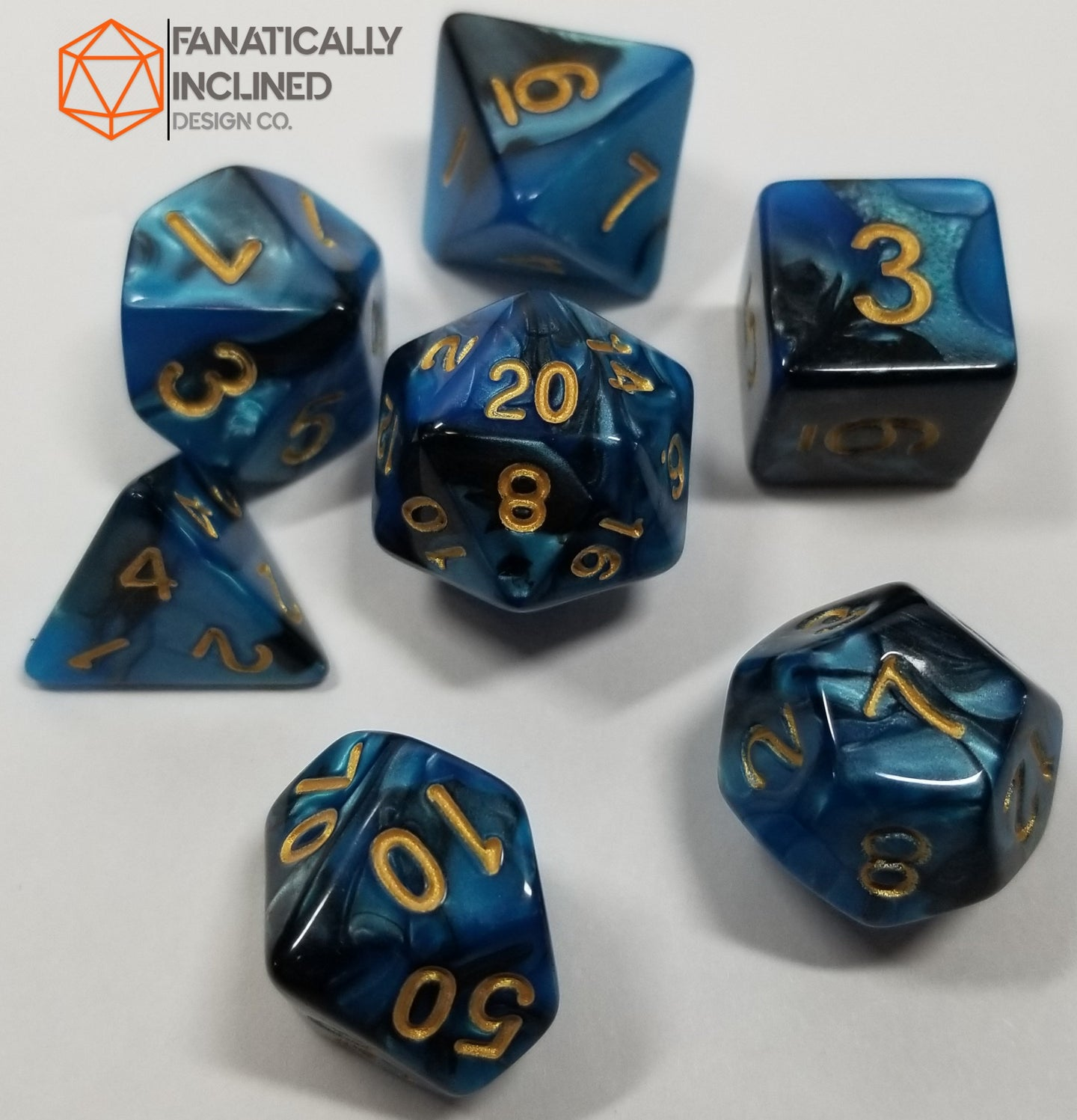 Blue and Black Pearl 7pc Dice Set