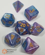 Load image into Gallery viewer, Cotton Candy Galaxy Pink Blue Pearl 7pc Dice Set