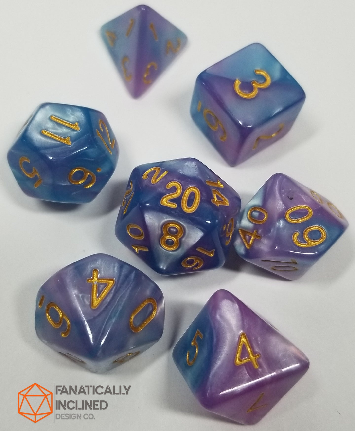 Cotton Candy Galaxy Pink Blue Pearl 7pc Dice Set