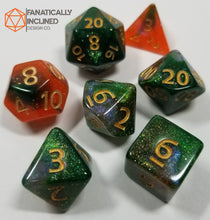 Load image into Gallery viewer, Orange Green Gold Nebula Dice Set