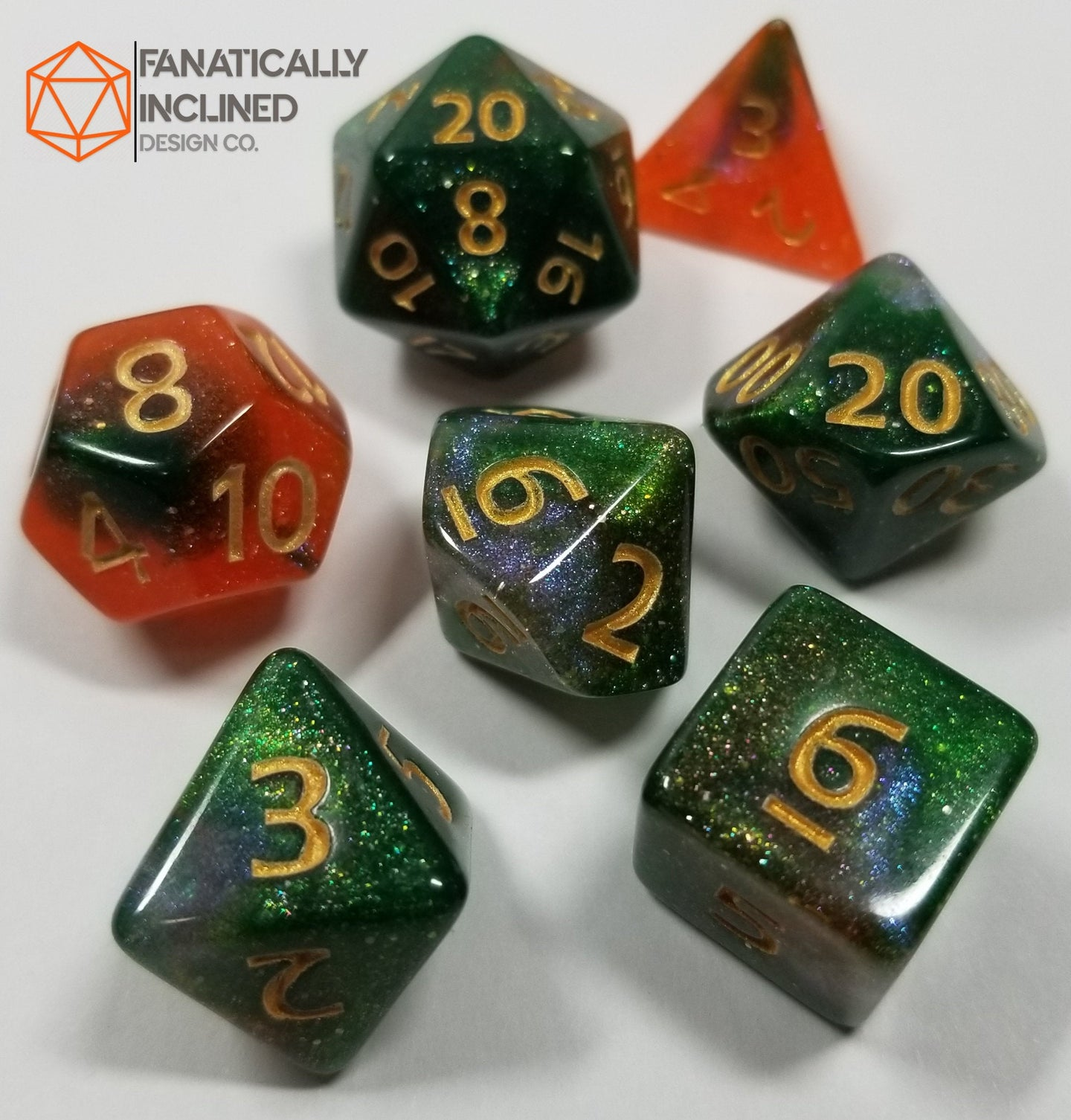 Orange Green Gold Nebula Dice Set