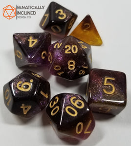 Purple Black Yellow Nebula Dice Set
