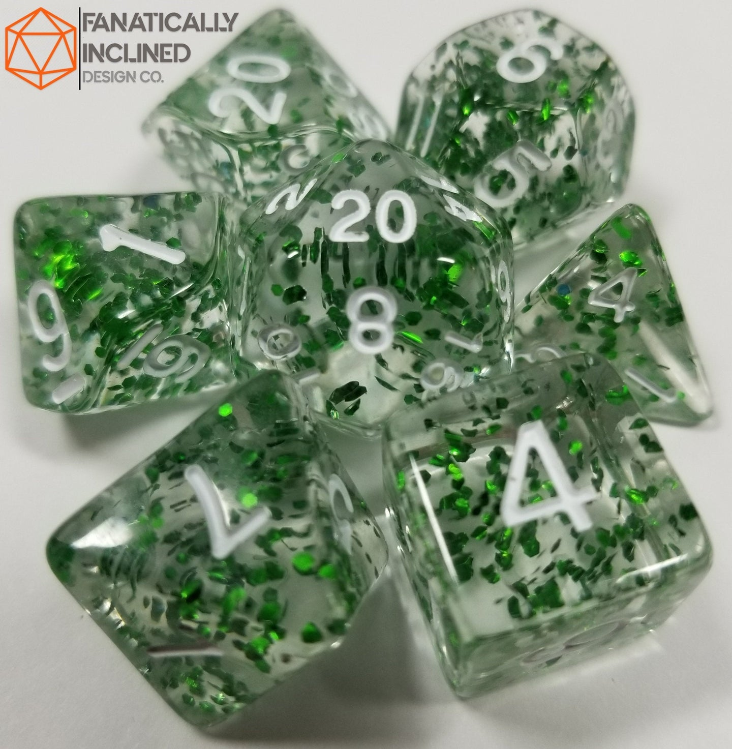 Green Glitter Confetti 7pc Dice Set