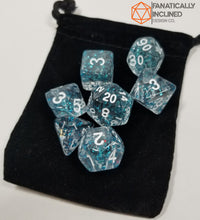 Load image into Gallery viewer, Blue Glitter Confetti7pc Dice Set