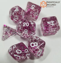 Load image into Gallery viewer, Purple Glitter Confetti 7pc Dice Set