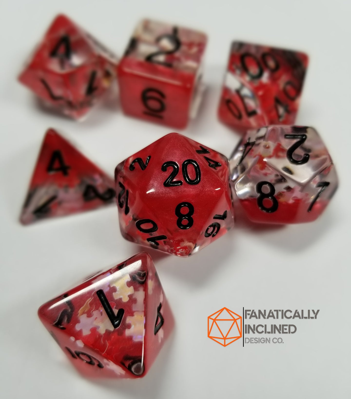 Red Dreamlike Puzzle Resin 7pc Dice Set