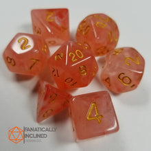 Load image into Gallery viewer, Orange Red Silk 7pc Dice Set