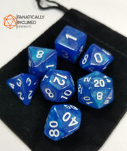 Laden Sie das Bild in den Galerie-Viewer, Cobalt Blue Glitter7pc  Dice Set