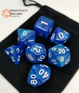 Cobalt Blue Glitter7pc  Dice Set