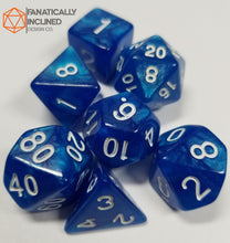 Load image into Gallery viewer, Cobalt Blue Glitter7pc  Dice Set
