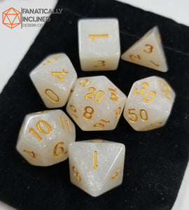 White Gold Glitter 7pc Dice Set