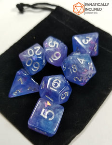 Purple Blue Butterfly Resin 7pc Dice Set