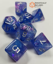 Load image into Gallery viewer, Purple Blue Butterfly Resin 7pc Dice Set