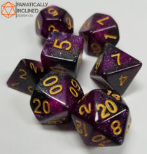 Load image into Gallery viewer, Purple Black Galaxy 7pc Dice Set