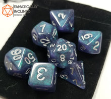 Load image into Gallery viewer, Blue Black Galaxy 7pc Dice Set