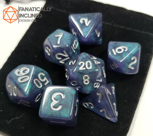 Blue Black Galaxy 7pc Dice Set