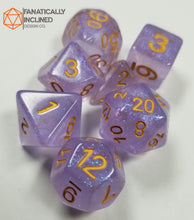 Load image into Gallery viewer, Violet Purple Shimmer Resin 7pc Dice Set