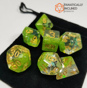 Fey Moss Green Dreamlike Puzzle Resin 7pc Dice Set