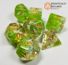 Load image into Gallery viewer, Fey Moss Green Dreamlike Puzzle Resin 7pc Dice Set