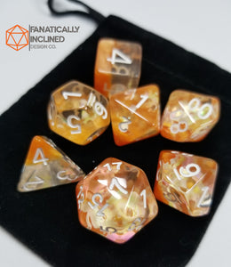 Autumn Orange Dreamlike Puzzle 7pc Resin Dice Set