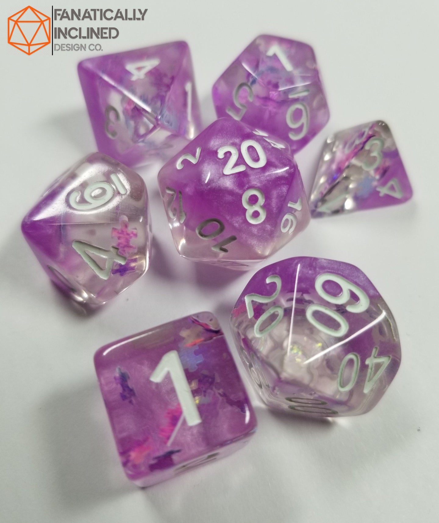 Purple Dreamlike Puzzle Resin 7pc Dice Set