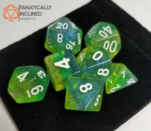 Load image into Gallery viewer, Lemon Lime Green Yellow Glitter Resin 7pc Dice Set