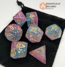 Load image into Gallery viewer, Purple Blue White Glitter Resin 7pc Dice Set