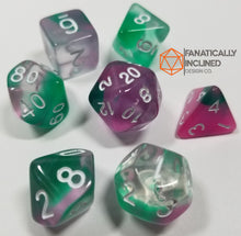 Load image into Gallery viewer, Joker Green Purple Toxin Resin 7pc Dice Set