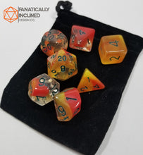 Load image into Gallery viewer, Orange Yellow El Fuego 7pc Resin Dice Set