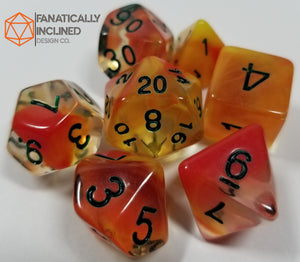Orange Yellow El Fuego 7pc Resin Dice Set