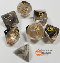 Load image into Gallery viewer, Black White Unholy Light 7pc Resin Dice Set