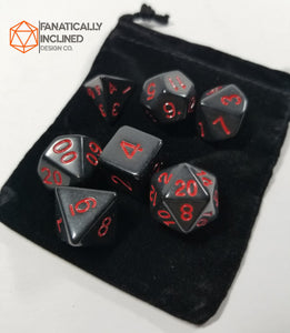 Black and Red Vampiric Influence 7pc Dice Set