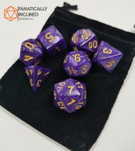 Load image into Gallery viewer, Flayers Heart Purple Pearlescent 7pc Dice Set
