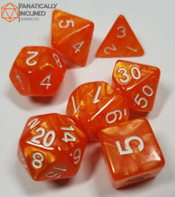 Load image into Gallery viewer, Sunlight Orange Pearlescent 7pc Dice Set