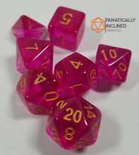 Load image into Gallery viewer, Fuschia Prismatic Orb 7pc Dice Set