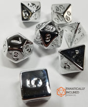 Laden Sie das Bild in den Galerie-Viewer, Fools Silver 7pc Resin Dice Set