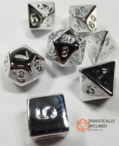 Fools Silver 7pc Resin Dice Set