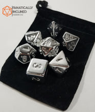 Load image into Gallery viewer, Fools Silver 7pc Resin Dice Set