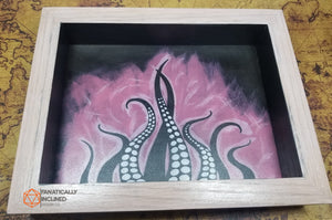 Pink Tentacles Handmade Oak Wood and Leather Dice Tray