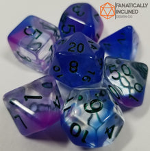 Load image into Gallery viewer, Purple Blue Mystical Swirl 7pc Resin Dice Set