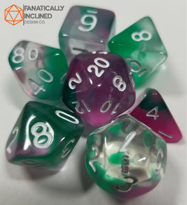 Joker Green Purple Toxin Resin 7pc Dice Set