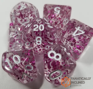 Purple Glitter Confetti 7pc Dice Set