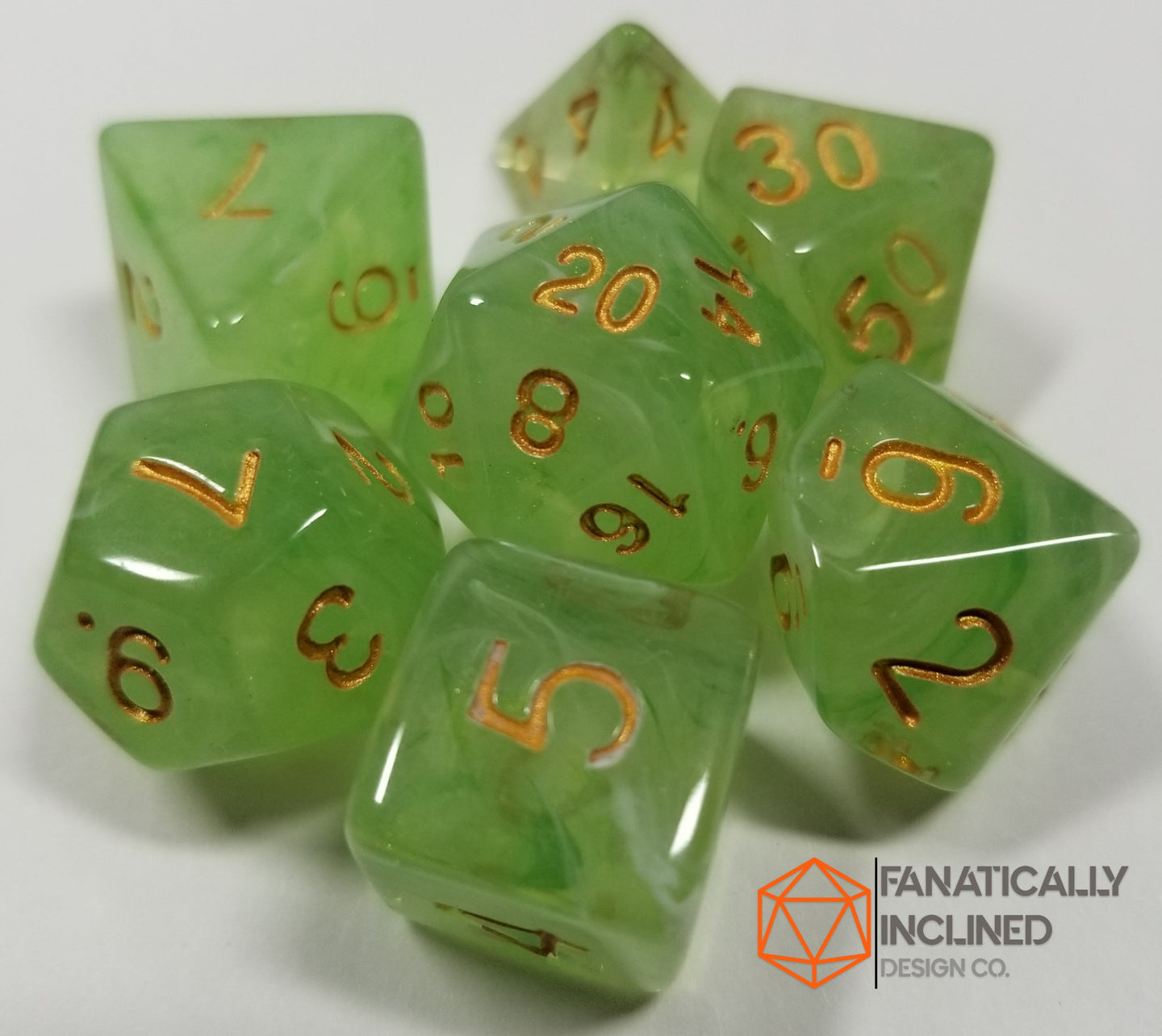 Green Gelatinous Cube 7pc Dice Set