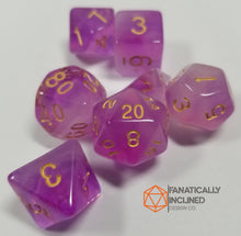 Load image into Gallery viewer, Purple White Swirl Mystical Orb 7pc Dice Set