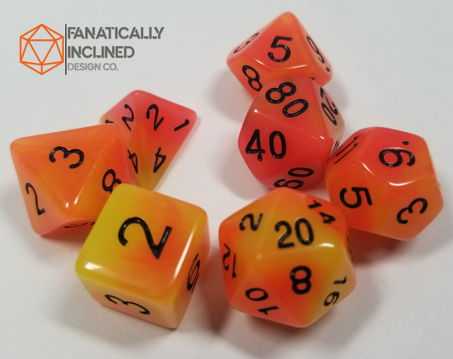 Orange Yellow Double Radiant Glow In The Dark 7pc Dice Set